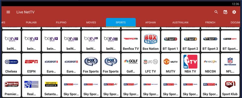 Exemple de chaines de sport disponibles sur Live NetTV